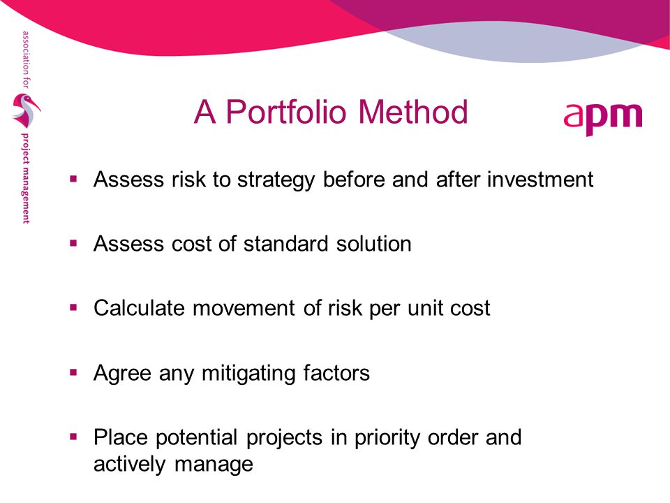 A Portfolio Method Assess risk to strategy before and after investment