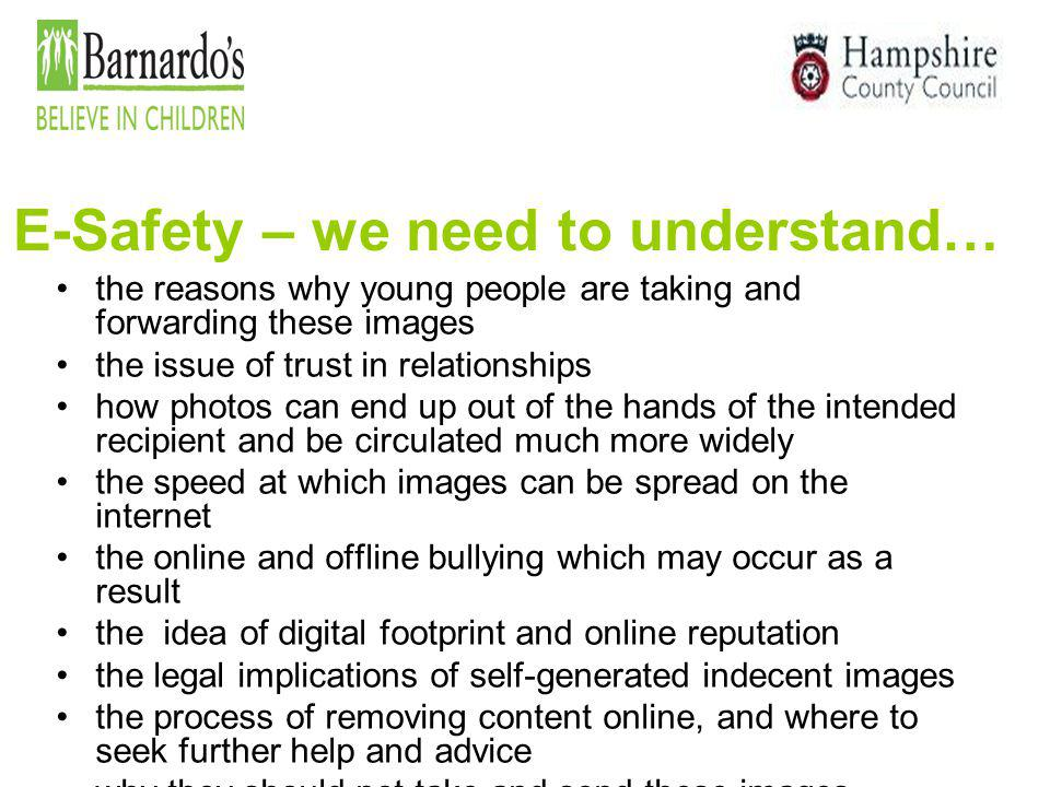 E-Safety – we need to understand…