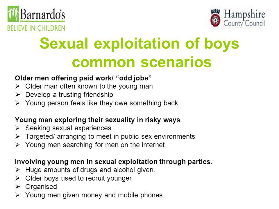 Sexual exploitation of boys common scenarios