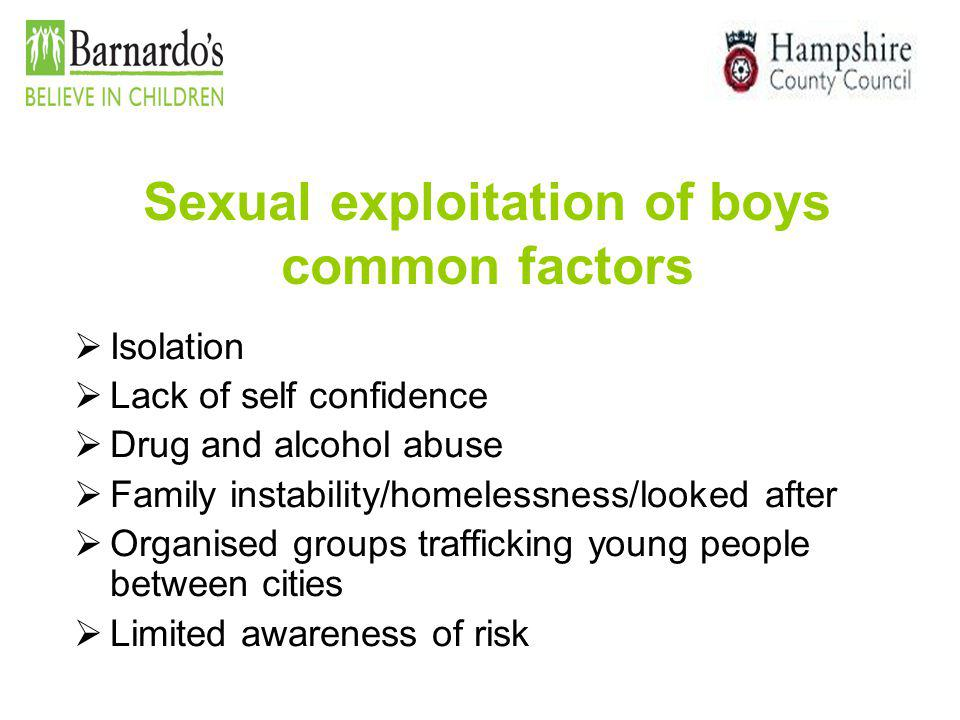Sexual exploitation of boys common factors