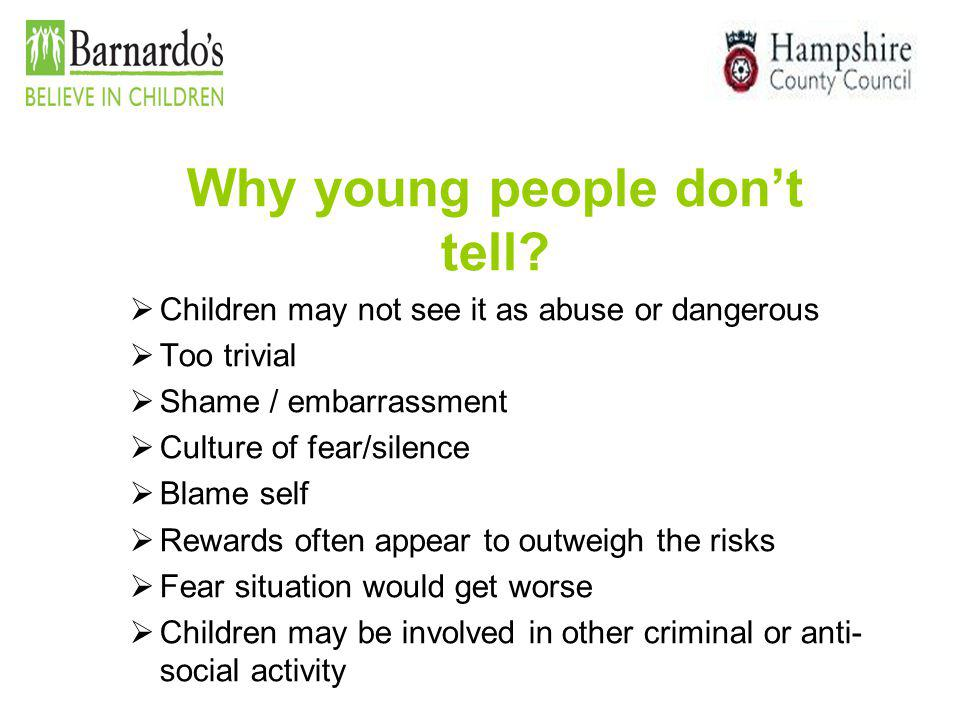 Why young people don't tell
