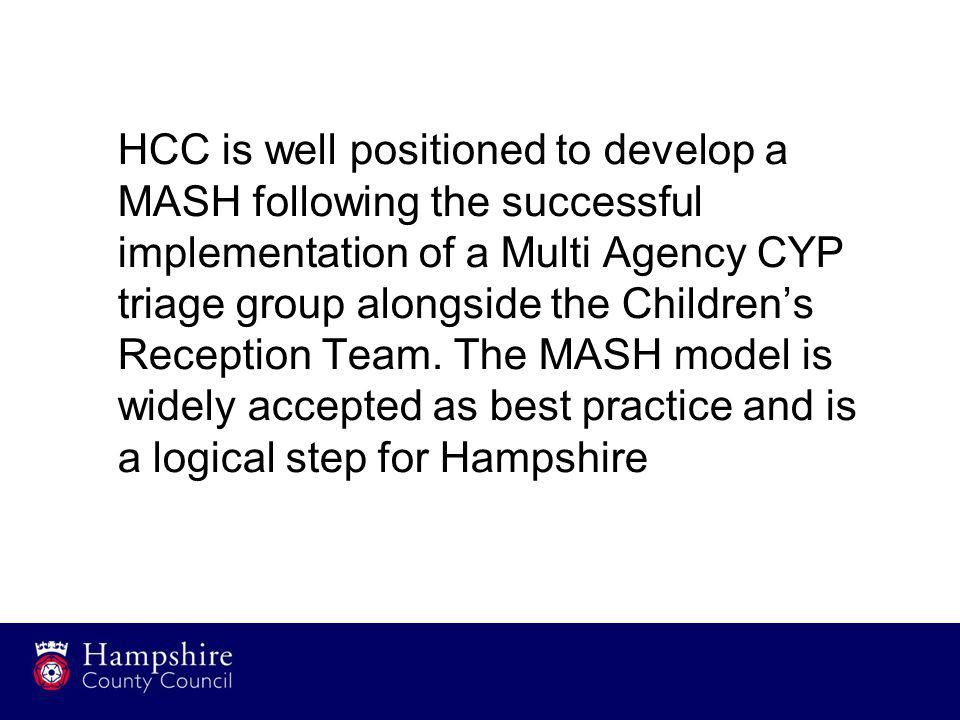 HCC is well positioned to develop a MASH following the successful implementation of a Multi Agency CYP triage group alongside the Children's Reception Team.