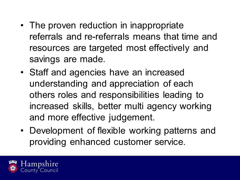 The proven reduction in inappropriate referrals and re-referrals means that time and resources are targeted most effectively and savings are made.