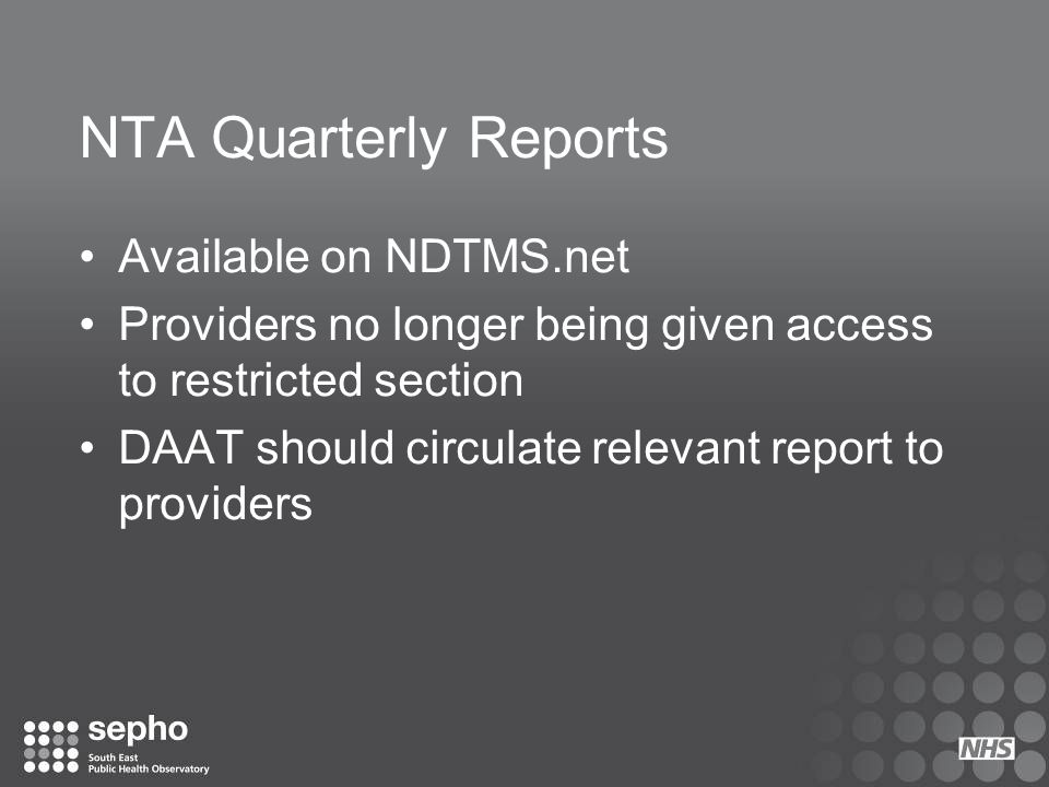 NTA Quarterly Reports Available on NDTMS.net