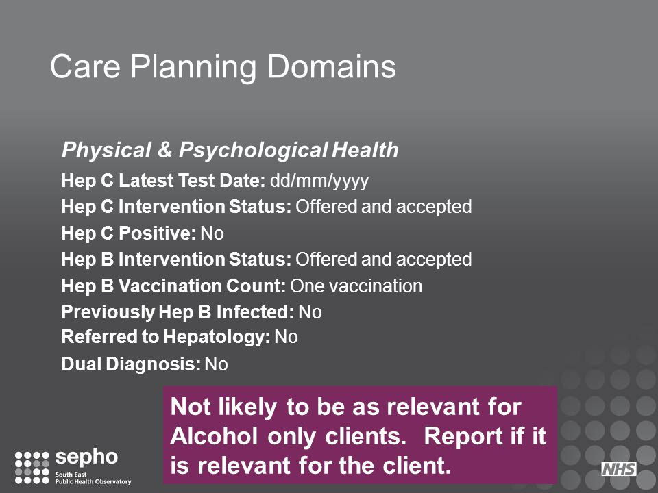 Care Planning Domains Physical & Psychological Health. Hep C Latest Test Date: dd/mm/yyyy. Hep C Intervention Status: Offered and accepted.
