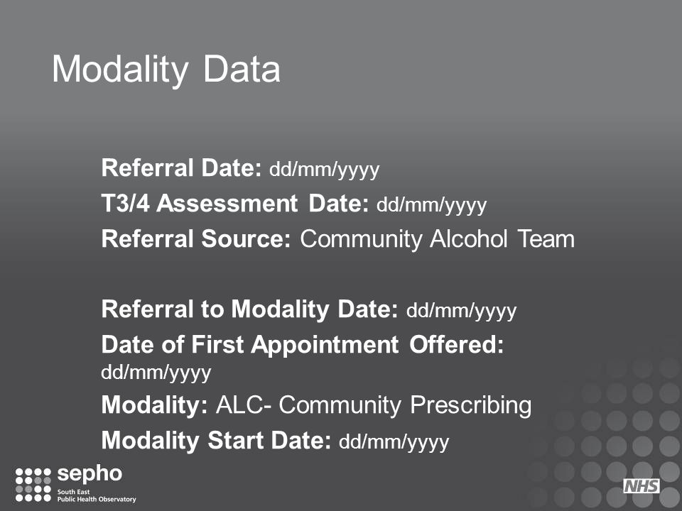 Modality Data Referral Date: dd/mm/yyyy