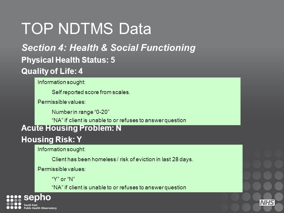 TOP NDTMS Data Section 4: Health & Social Functioning