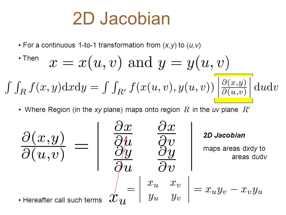 2D Jacobian For a continuous 1-to-1 transformation from (x,y) to (u,v)