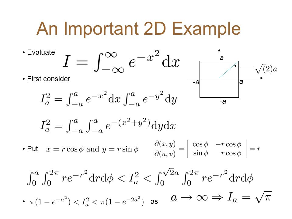 An Important 2D Example Evaluate First consider Put as a -a a -a