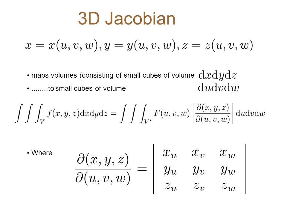 3D Jacobian maps volumes (consisting of small cubes of volume