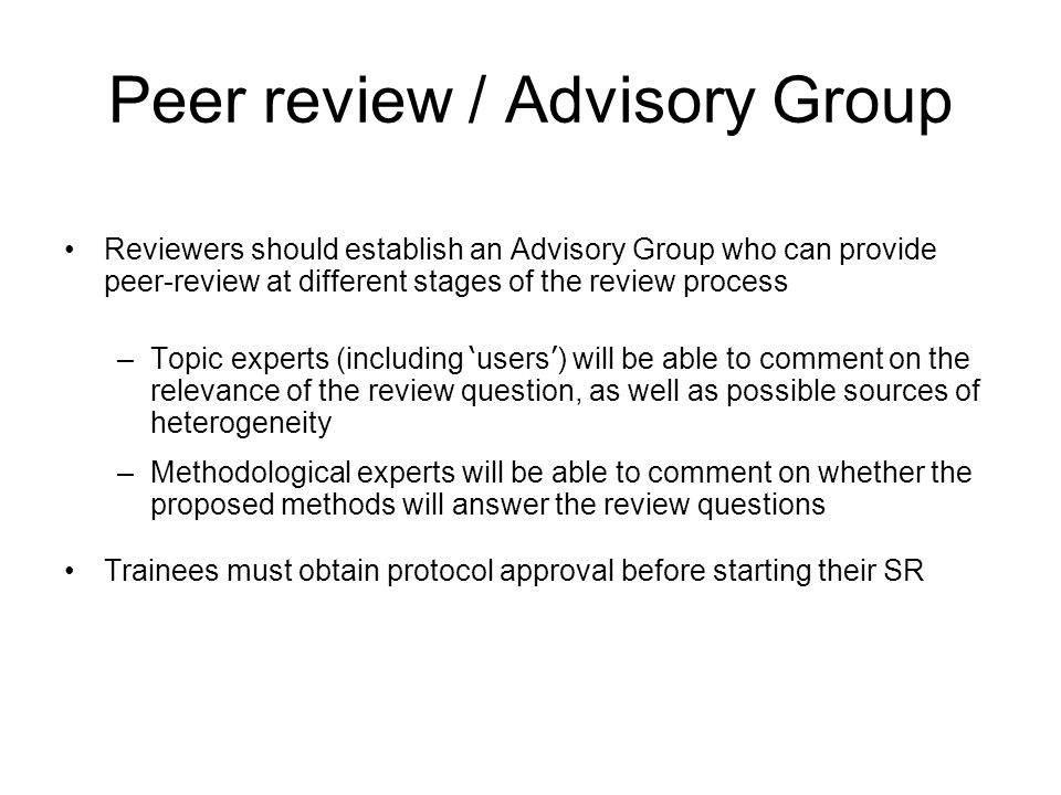 Peer review / Advisory Group