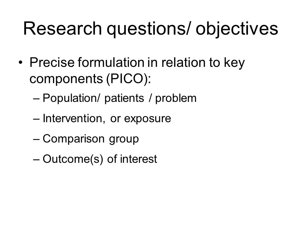Research questions/ objectives