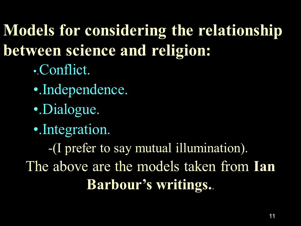 The above are the models taken from Ian Barbour's writings..