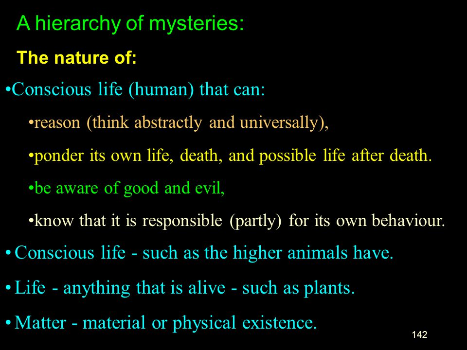 A hierarchy of mysteries: