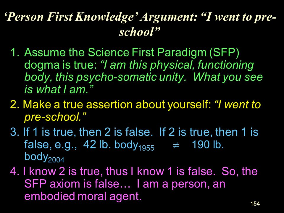 'Person First Knowledge' Argument: I went to pre-school