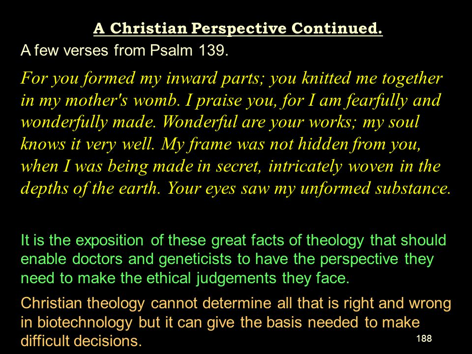 A Christian Perspective Continued.