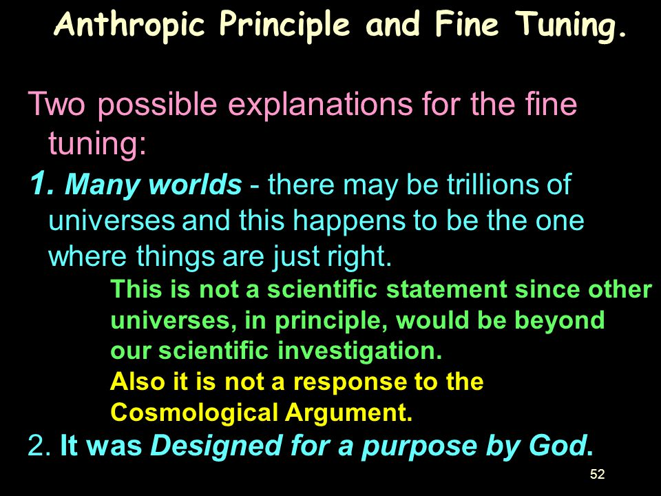 Anthropic Principle and Fine Tuning.