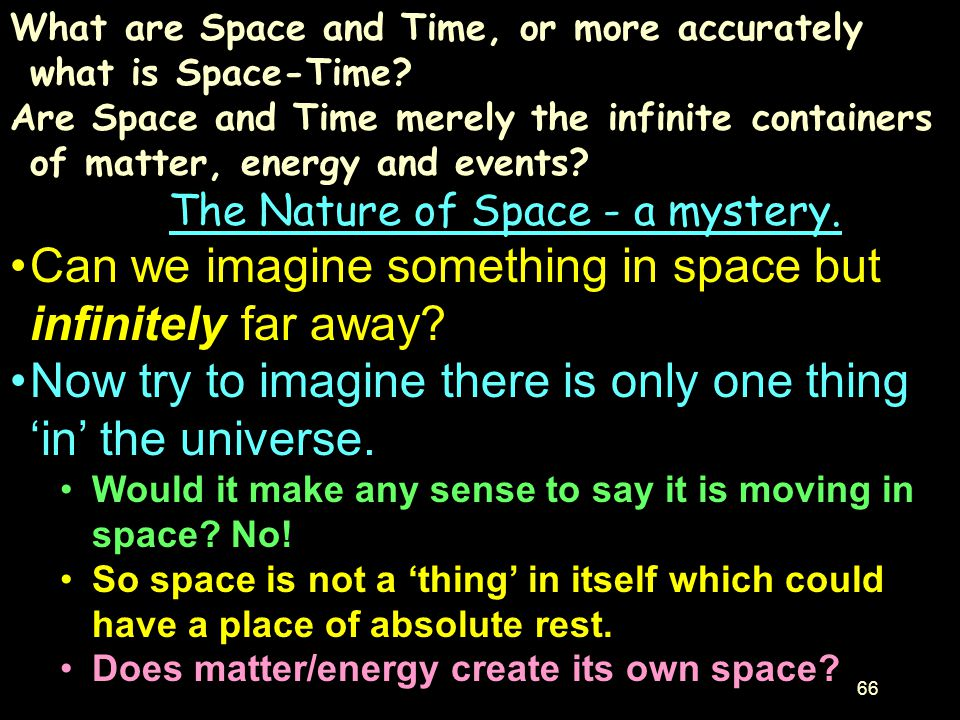 The Nature of Space - a mystery.
