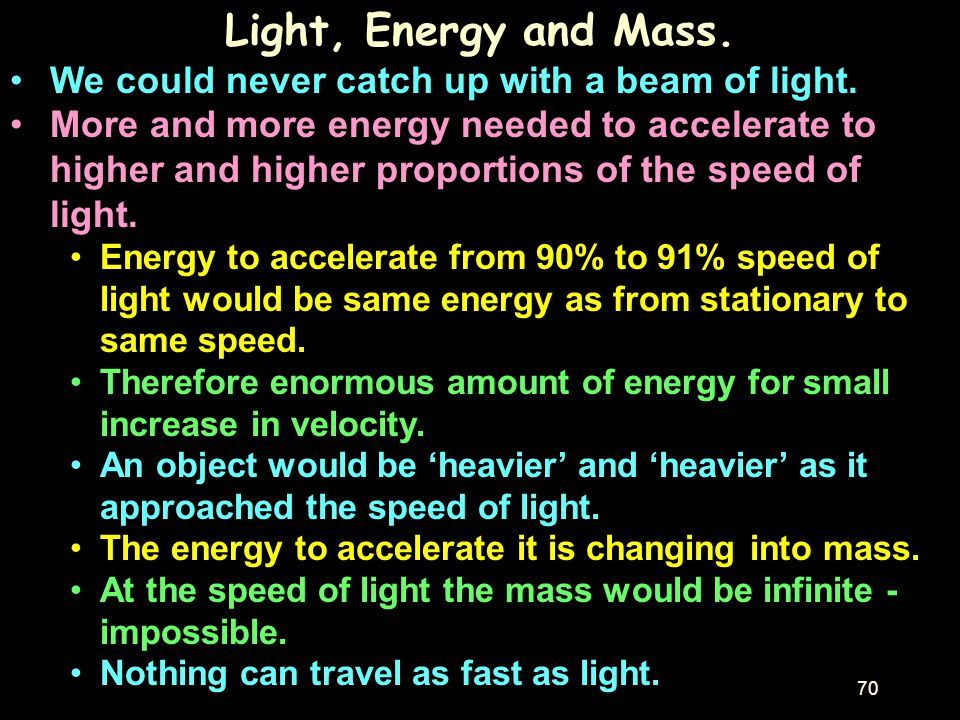 Light, Energy and Mass. We could never catch up with a beam of light.