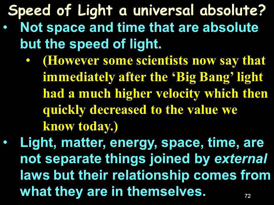 Speed of Light a universal absolute