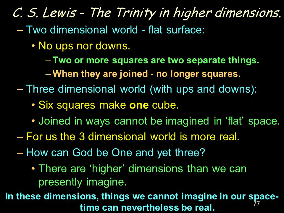 C. S. Lewis - The Trinity in higher dimensions.