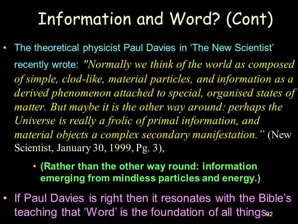 Information and Word (Cont)
