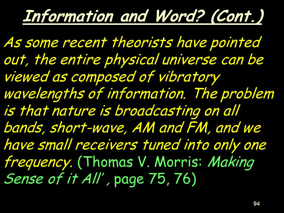 Information and Word (Cont.)
