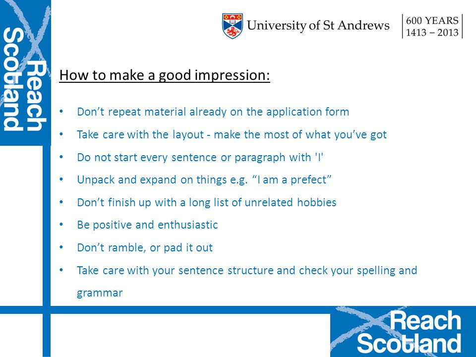 How to make a good impression: