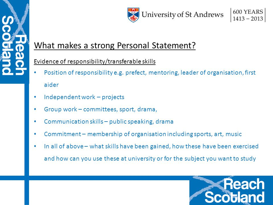 What makes a strong Personal Statement