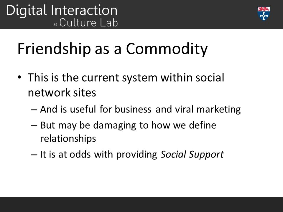 Friendship as a Commodity