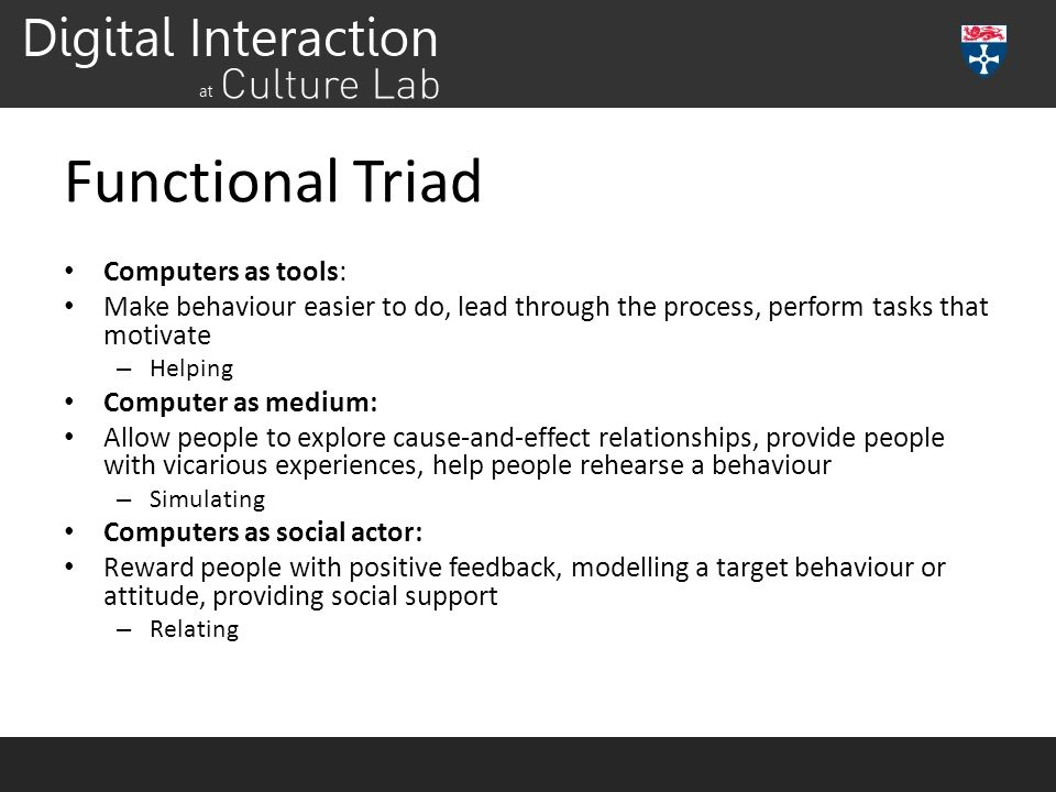 Functional Triad Computers as tools: