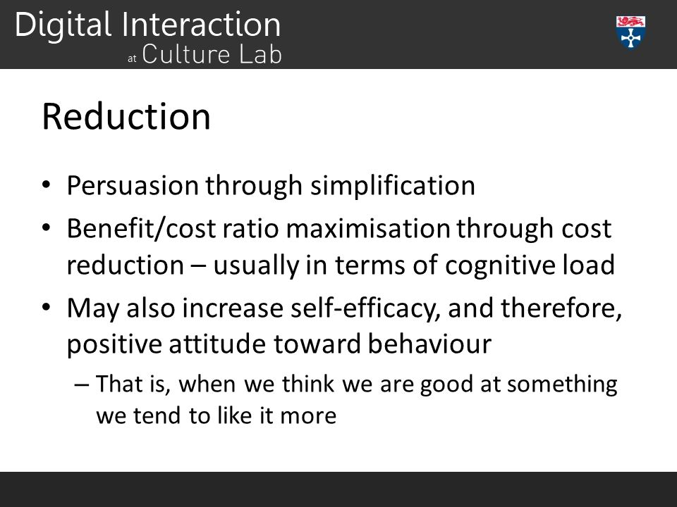 Reduction Persuasion through simplification