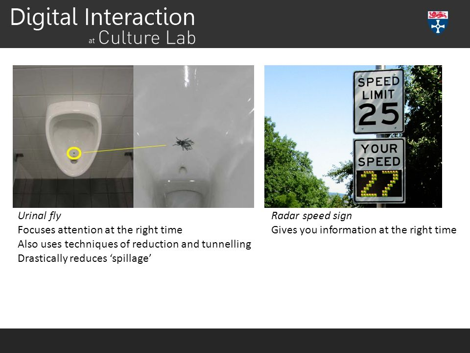 Suggestion Urinal fly Focuses attention at the right time