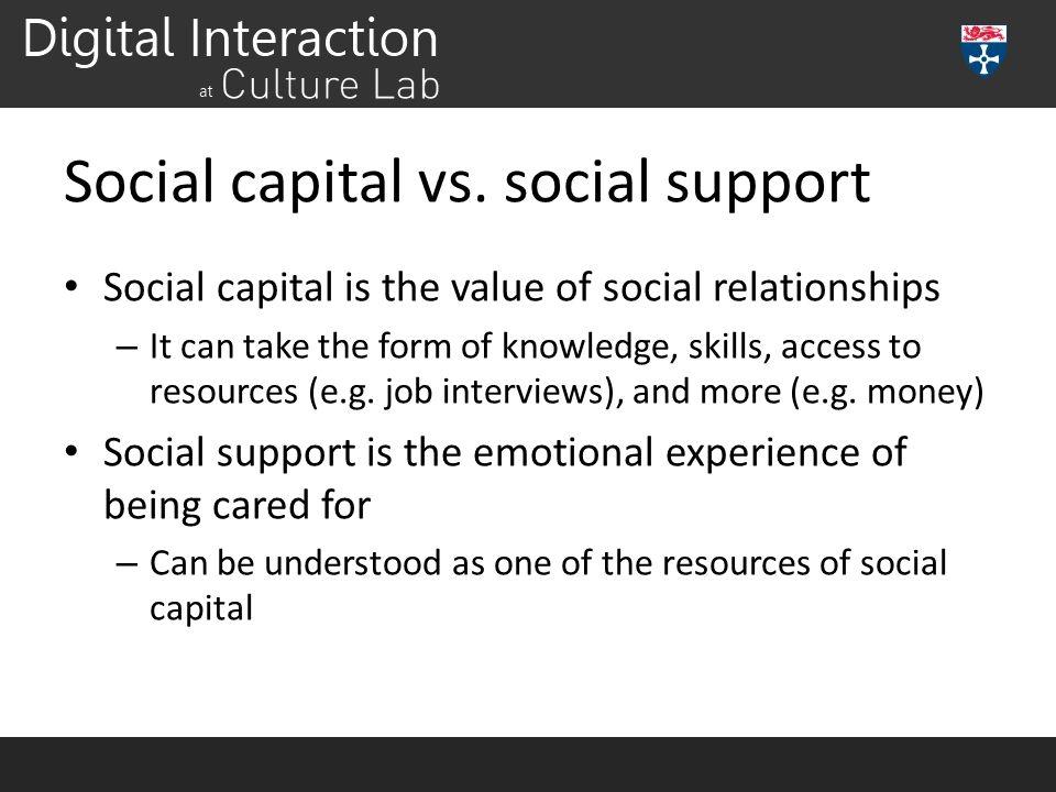 Social capital vs. social support