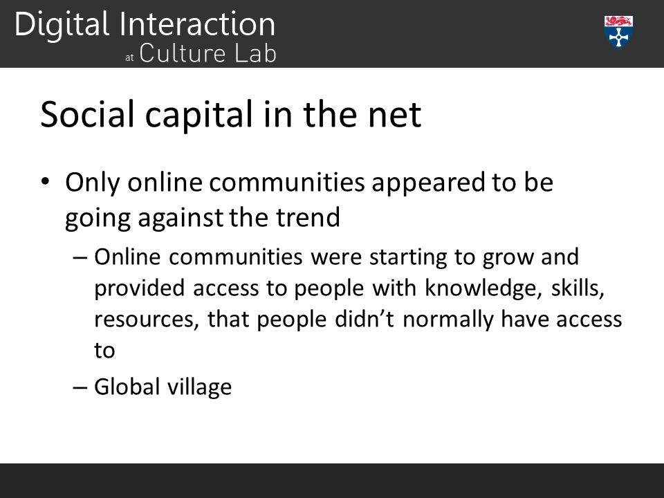 Social capital in the net