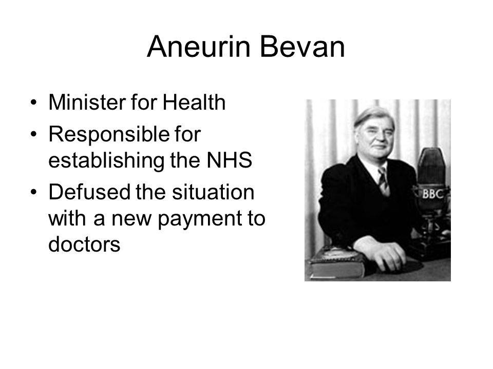 Aneurin Bevan Minister for Health Responsible for establishing the NHS