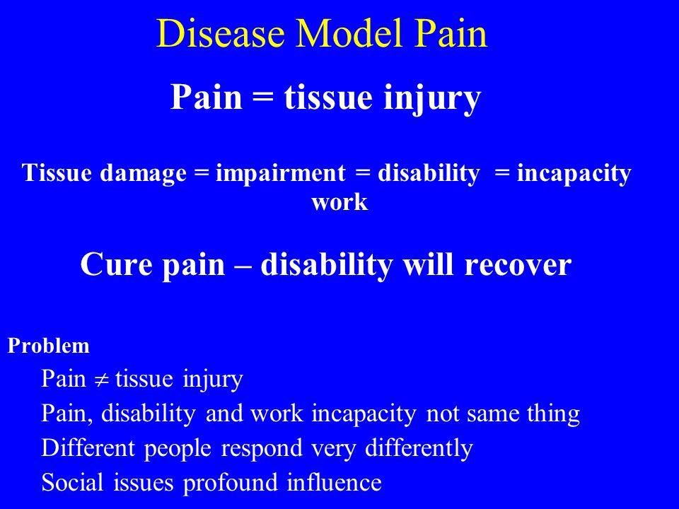 Disease Model Pain Pain = tissue injury