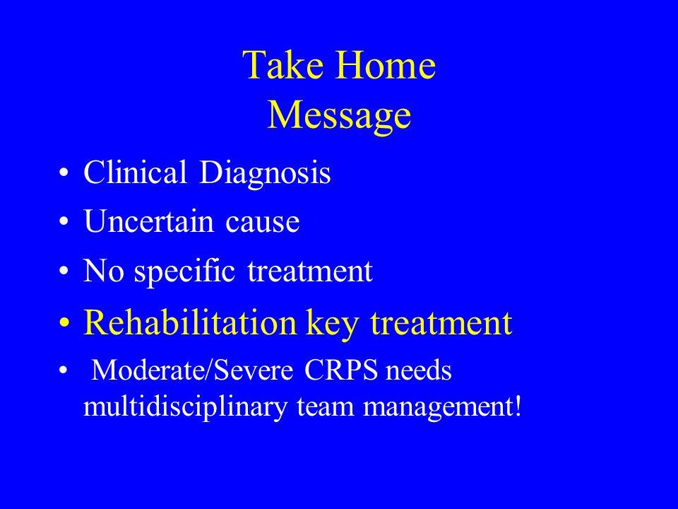 Take Home Message Rehabilitation key treatment Clinical Diagnosis