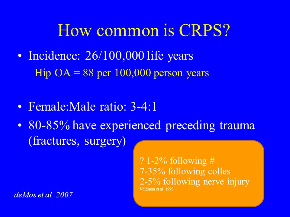 How common is CRPS Incidence: 26/100,000 life years
