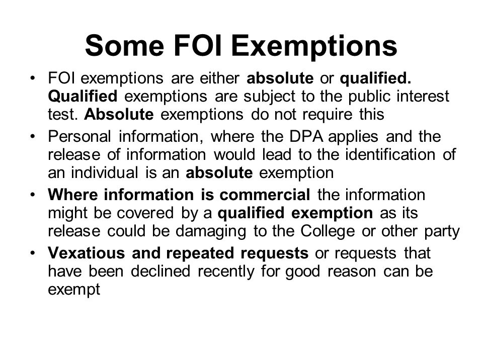 Some FOI Exemptions