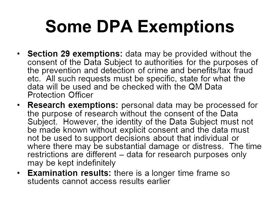 Some DPA Exemptions