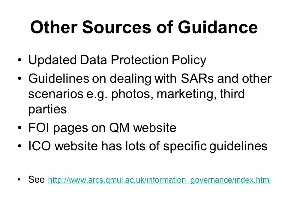 Other Sources of Guidance
