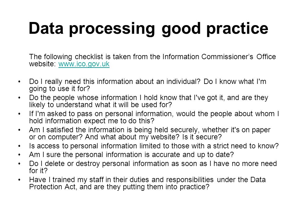 Data processing good practice