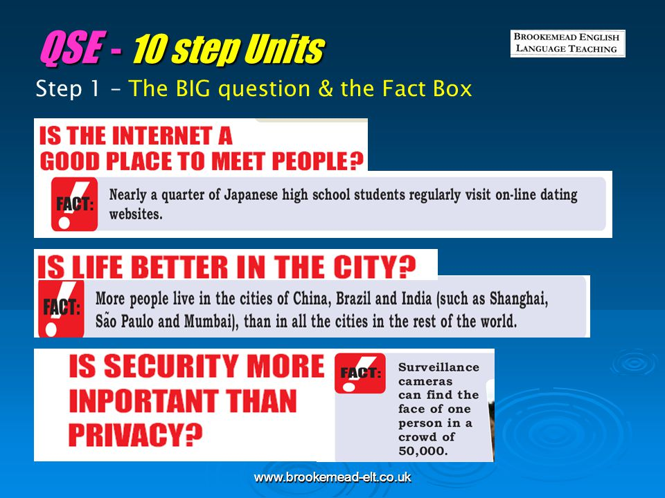 QSE - 10 step Units Step 1 – The BIG question & the Fact Box