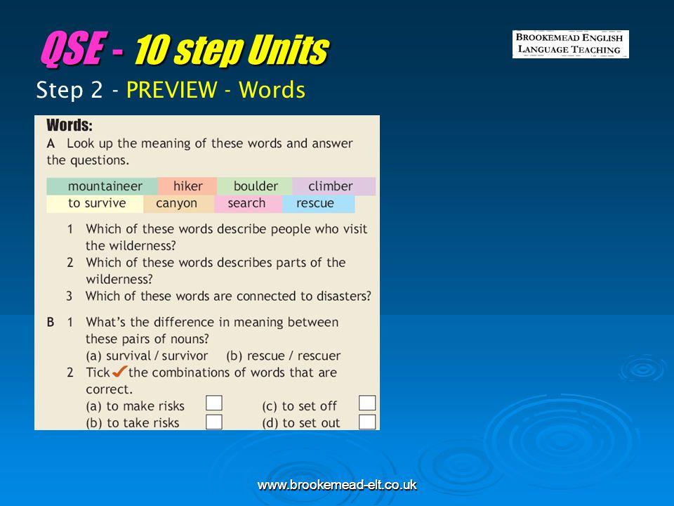 QSE - 10 step Units Step 2 - PREVIEW - Words www.brookemead-elt.co.uk