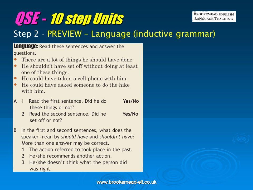 QSE - 10 step Units Step 2 - PREVIEW – Language (inductive grammar)