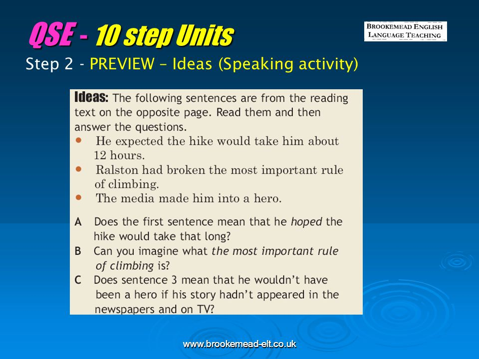 QSE - 10 step Units Step 2 - PREVIEW – Ideas (Speaking activity)