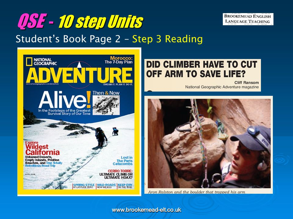 QSE - 10 step Units Student's Book Page 2 – Step 3 Reading