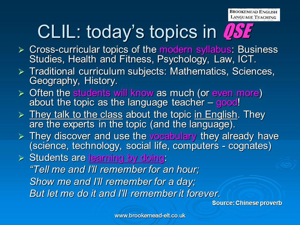 CLIL: today's topics in QSE