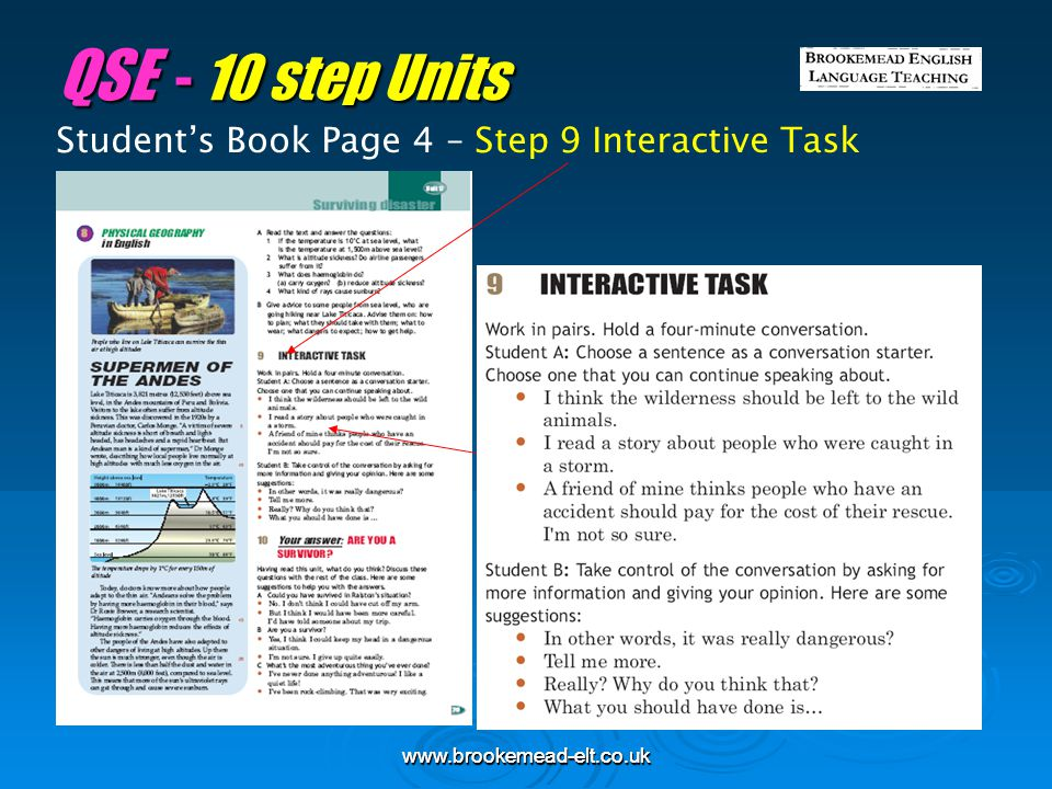 QSE - 10 step Units Student's Book Page 4 – Step 9 Interactive Task